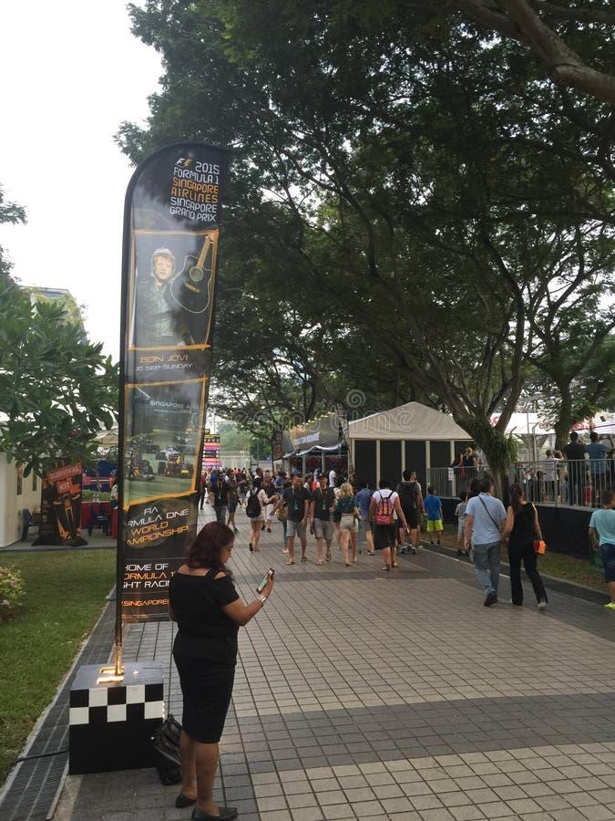 Singapore grand prix 2015 18 åskådare för Sept som 2015 beskådar område arkivfoton