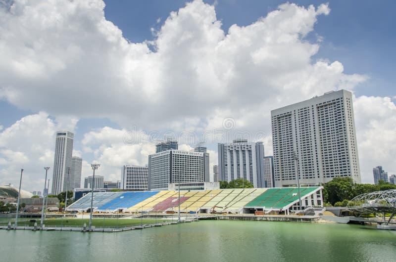 Singapore Grand Prix stands. The Grand Prix motor racing stands Singapore stock photos