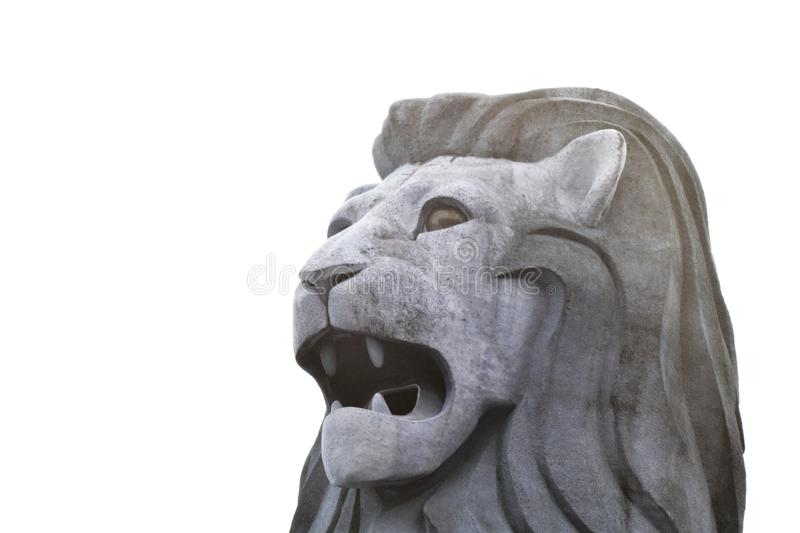 Singapore grey colour merlion made of stone. Singapore huge merlion sculpture made of stone in grey colour royalty free stock images