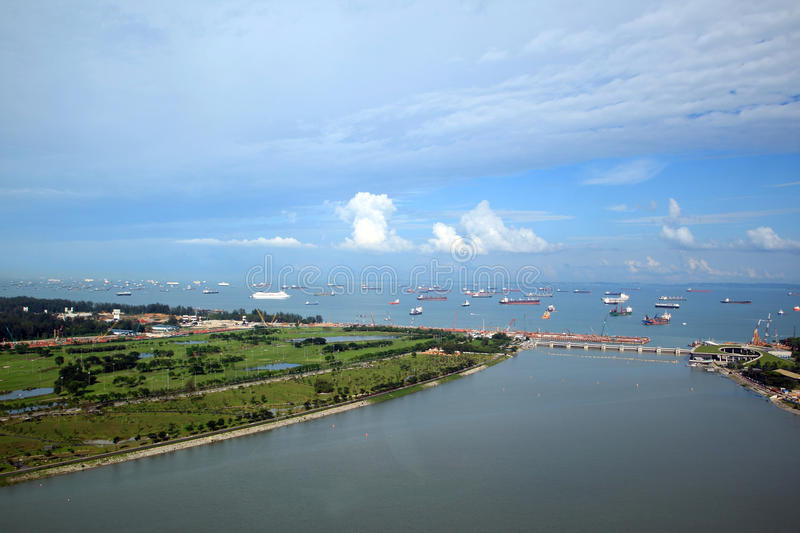Singapore habor. View from top of the Singapore flyer royalty free stock photo