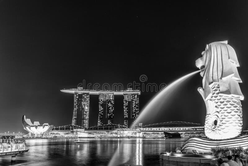 Singapore harbor in black and white stock photo