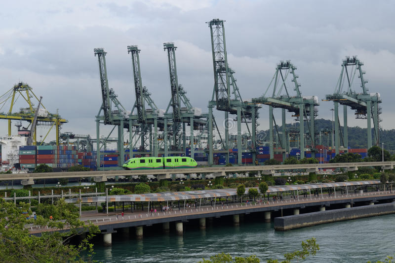 Singapore harbor seen from Sentosa Island stock images