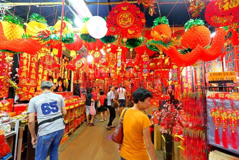 Singapore: Het Chinese Maannieuwjaar winkelen stock afbeeldingen