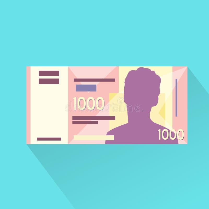 Singapore het Vlakke Ontwerp van het Duizend Dollarsbankbiljet royalty-vrije illustratie