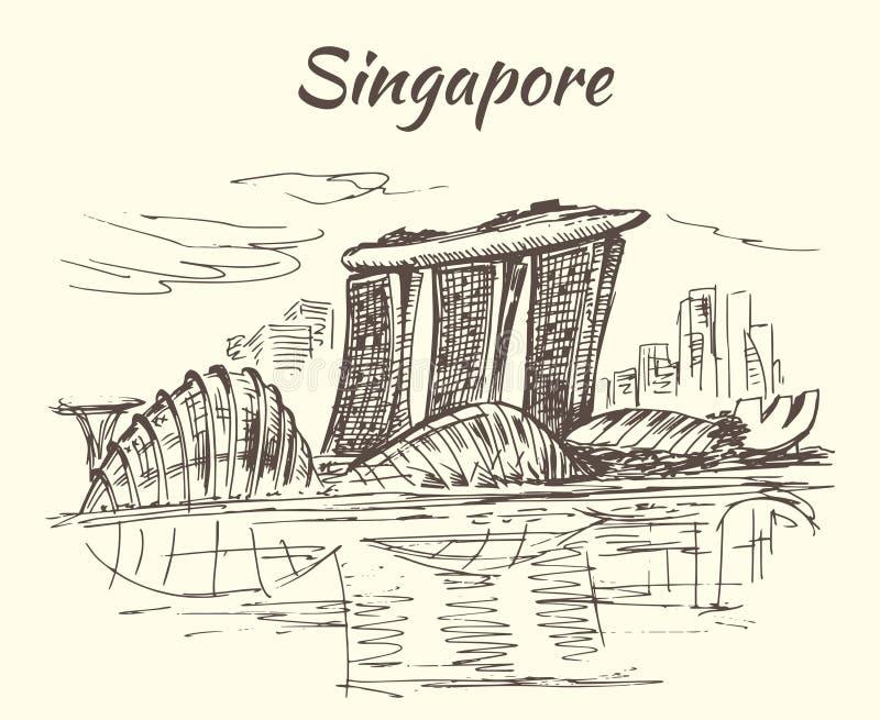 Singapore himmel parkerar och blommar kupoler - Singapore stock illustrationer