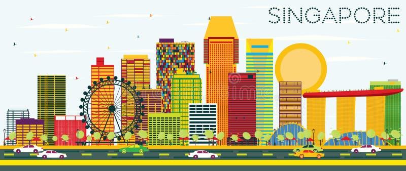 Singapore horisont med färgbyggnader och blå himmel royaltyfri illustrationer