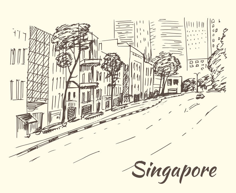Singapore hub of shops, stores, markets, boutiques vector illustration