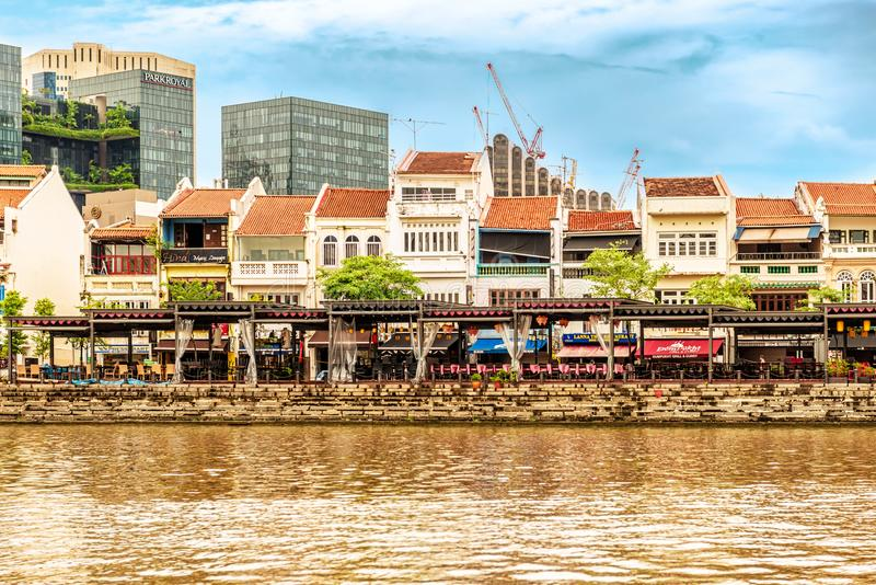 Colorful colonial houses along Singapore river in Singapore. stock photo