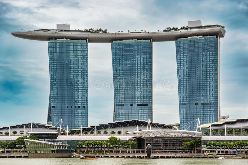 Marina Bay Sands hotel in downtown of Singapore city. Singapore - Jan 14, 2018: Futuristic architecture design Marina Bay Sands hotel in downtown of Singapore royalty free stock photo