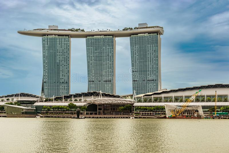 Marina Bay Sands hotel in downtown of Singapore city. Singapore - Jan 14, 2018: Futuristic architecture design Marina Bay Sands hotel in downtown of Singapore royalty free stock image