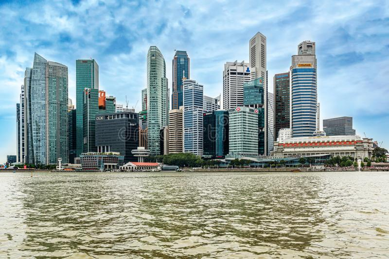 Skyscrapers in downtown city of Singapore. Singapore - Jan 14, 2018: Landscape view at downtown skyscrapers skyline as viewed from over Marina Bay in Singapore royalty free stock photos