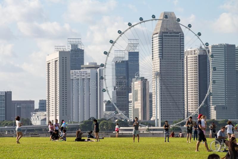 SINGAPORE - JAN 24 , 2016 : Marina ฺBarrage place for attractions of Singaporeans and tourists. Near Marina Bay. You can also s stock photography