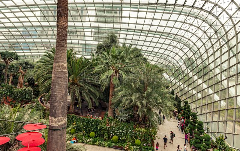 Flower Dome conservatory. Gardens by the Bay. Singapore,. Singapore Jan 11, 2018: Tourists visiting flower dome conservatory at Gardens by the Bay in Singapore royalty free stock photography