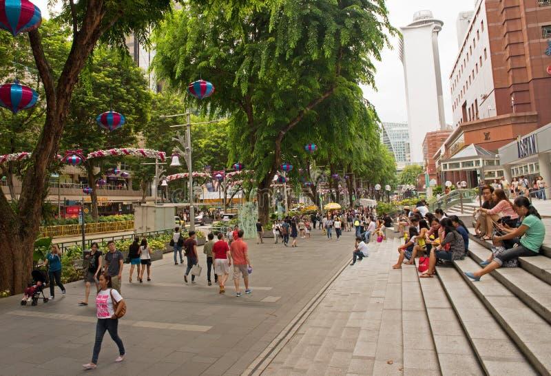 Singapore-januari 2016, Kerstmisdecoratie op Boomgaardweg stock foto's