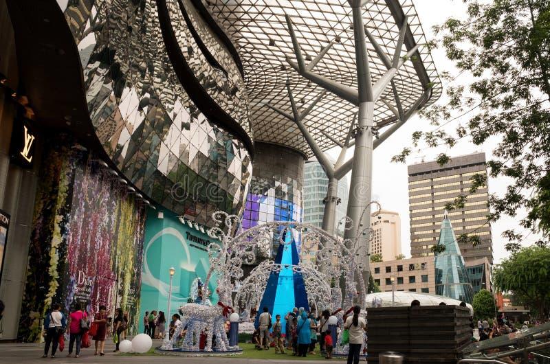 Singapore-januari 2016, Kerstmisdecoratie op Boomgaardweg in S royalty-vrije stock fotografie