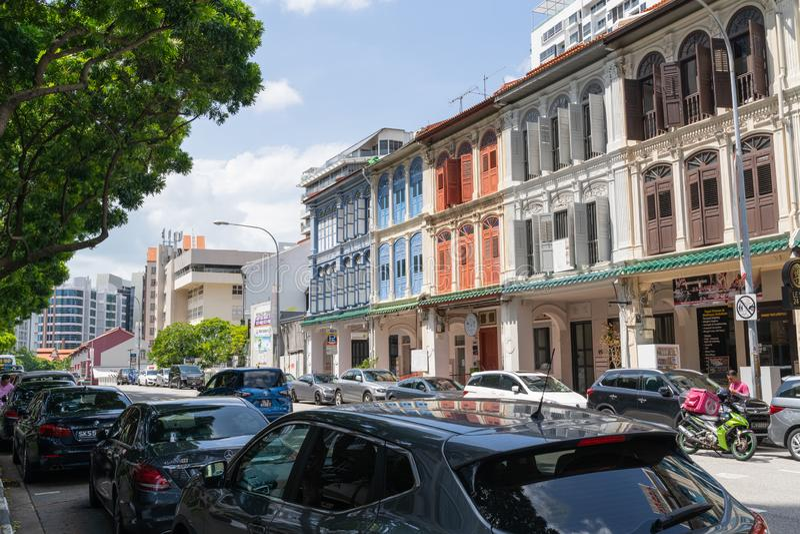 Singapore - Januari 2019: Koloniale erfenishuizen royalty-vrije stock foto's