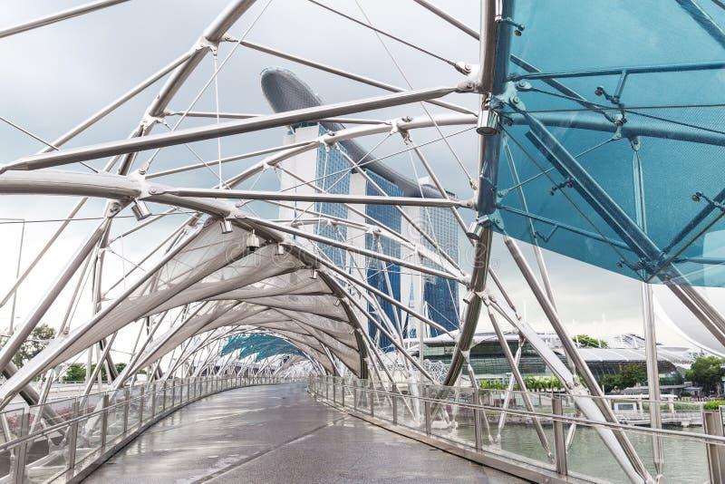Singapore, 2016 14 Januari: Landschap van Marina Bay Sands-hotel, brug, museum en financieel district royalty-vrije stock afbeelding