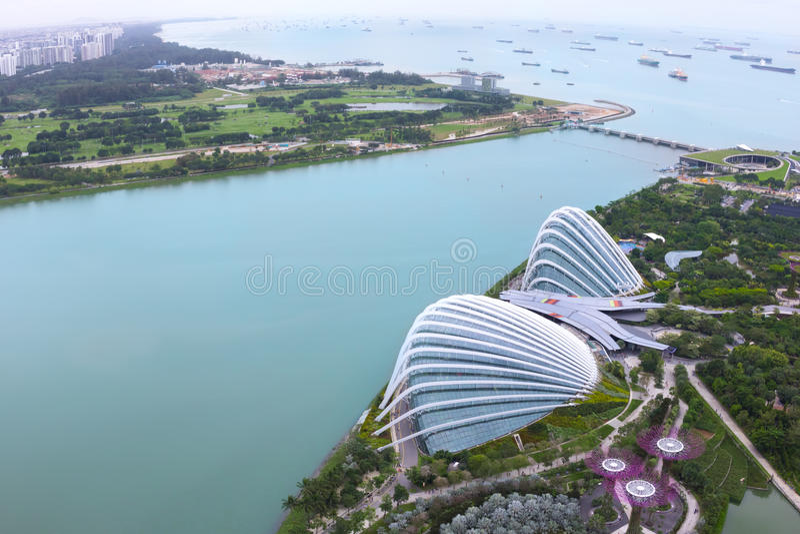 SINGAPORE - Januari 29 2017: Molnskog & blommakupol arkivbilder