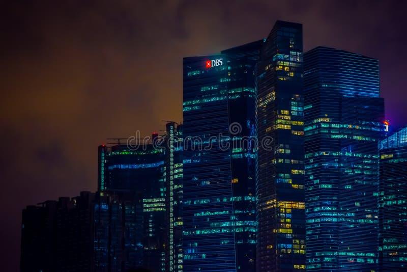 SINGAPORE, SINGAPORE - JANUARI 30, 2018: Openluchtmening van de horizon van Singapore Singapore heeft een hoogontwikkelde markt royalty-vrije stock fotografie