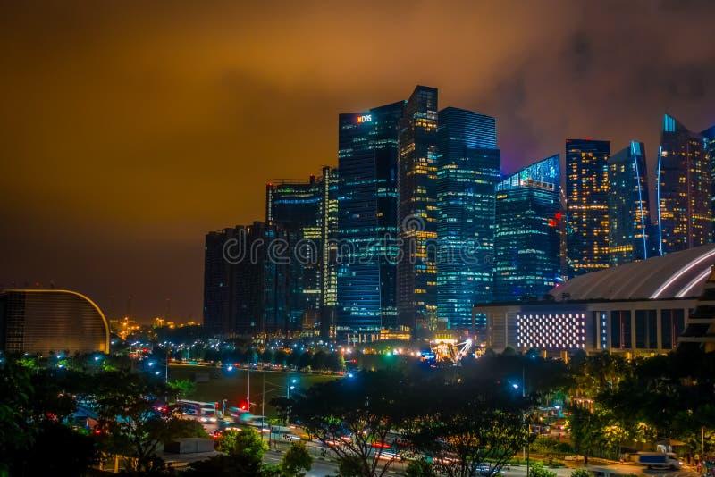 SINGAPORE, SINGAPORE - JANUARI 30, 2018: Openluchtmening van de horizon van Singapore Singapore heeft een hoogontwikkelde markt royalty-vrije stock afbeeldingen