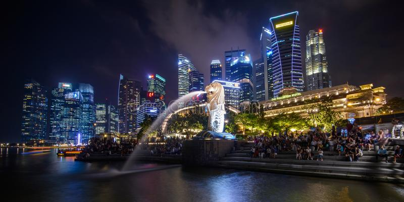 SINGAPORE - JANUARY 10, 2018: Merlion is an imaginary creature with head of a lion and the body of a fish royalty free stock photo