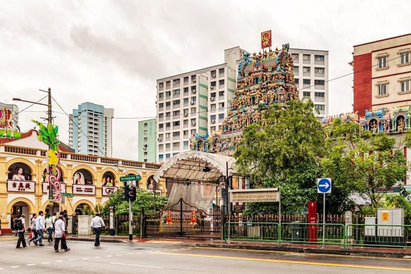 Sri Veeramakaliamman Hindu temple in Little India, Singapore. Singapore, January 12, 2018: Traffic on the street in front of Sri Veeramakaliamman Hindu temple royalty free stock photo
