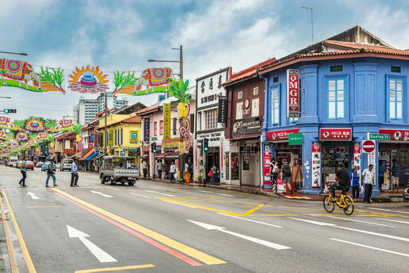 Colorful decorated street in Little India, Singapore. Singapore, January 12, 2018: Traffic on the street in the part of Singapore called Little India. Colorful royalty free stock images