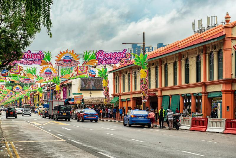 Colorful decorated street in Little India, Singapore. stock photo