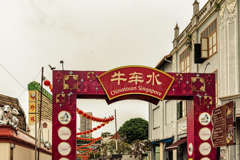 Colonial buildings in Chinatown, Singapore. Singapore - January 12, 2018: View at the old colonial houses in the part of Singapore called Chinatown stock photography