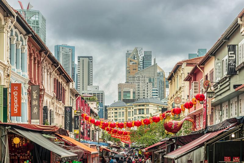 Colonial buildings in Chinatown, Singapore. Singapore - January 12, 2018: View at the old colonial houses in the part of Singapore called Chinatown royalty free stock photography