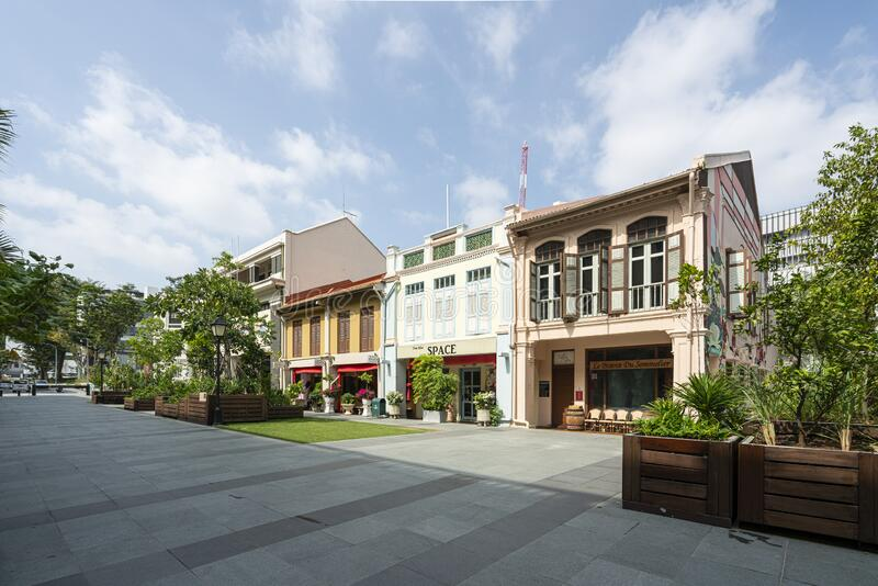 Armenian street in Singapore. Singapore.  January 2020.  the view of the typical houses along Armenian street stock images