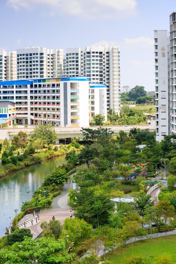 Singapore-27 JUL 2019:Singapore Punggol water way park aerial day view. Singapore-27 JUL 2019:Singapore Punggol water way park aerial view stock images