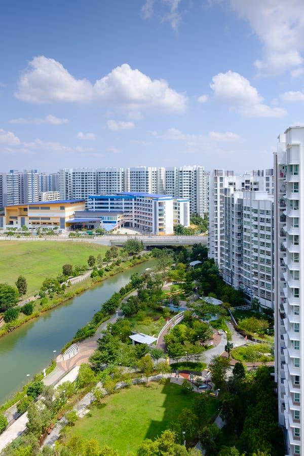 Singapore-27 JUL 2019:Singapore Punggol water way park aerial day view. Singapore-27 JUL 2019:Singapore Punggol water way park aerial view stock photo