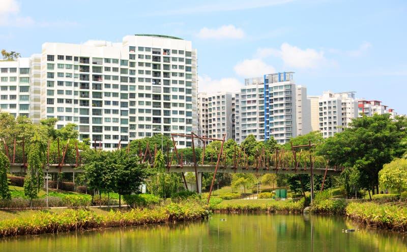 Singapore-27 JUL 2019: Singapore Punggol water way park landscape bridge view. Singapore-27 JUL 2019: Singapore Punggol water way park landscape bridge stock photo