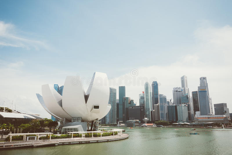 SINGAPORE - July 16, 2015: ArtScience Museum is one of the attractions at Marina Bay Sands, an integrated resort in Singapore royalty free stock images