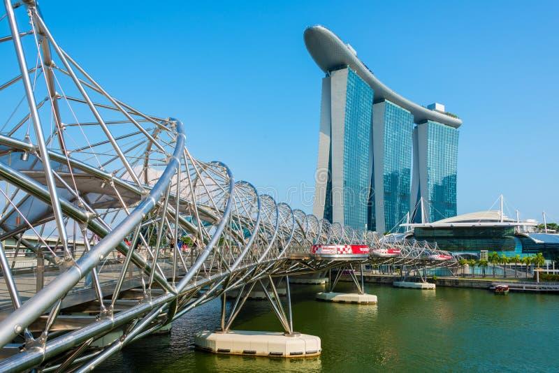 Helix Bridge or DNA bridge and Marina Bay Sands tourist attraction royalty free stock photo