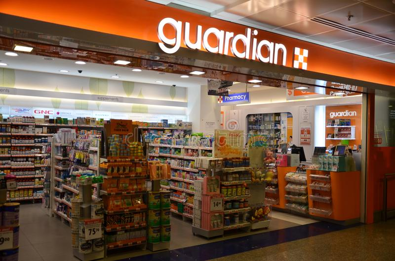 Guardian pharmacy retail shop located in Singapore. SINGAPORE- 20 JUN, 2018: Guardian pharmacy retail shop located in Singapore. Guardian operates Singapore royalty free stock image