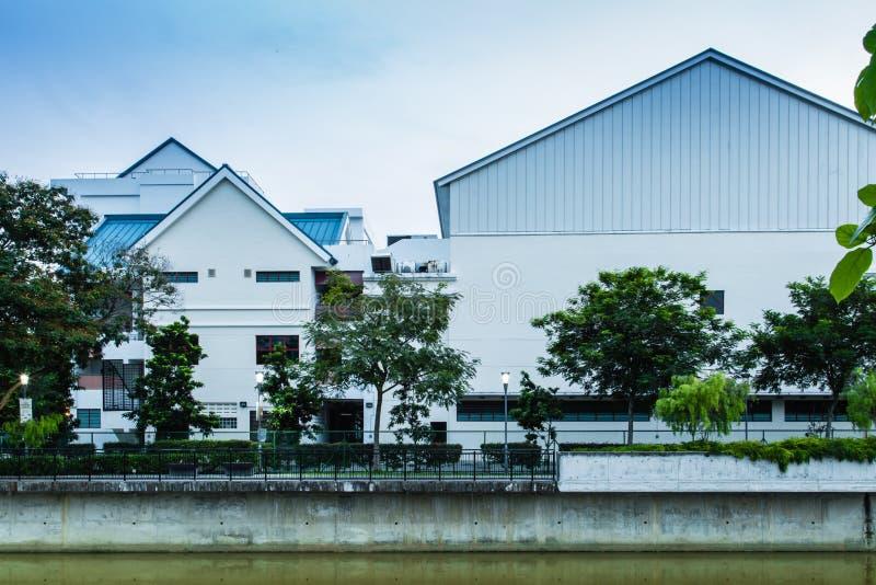 SINGAPORE-JUN 1 2017:riverfront pedestrian way along geylang river front royalty free stock images
