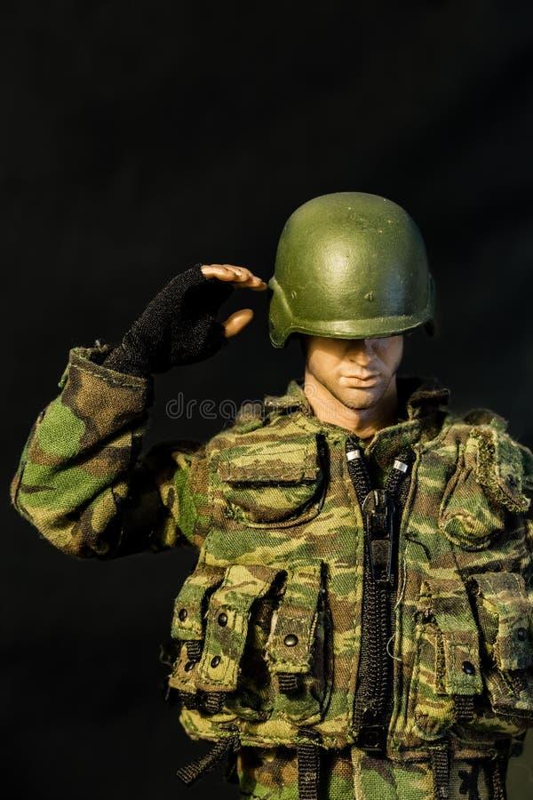 SINGAPORE-JUN 08 2017: soldier figure toy display closeup view royalty free stock photo
