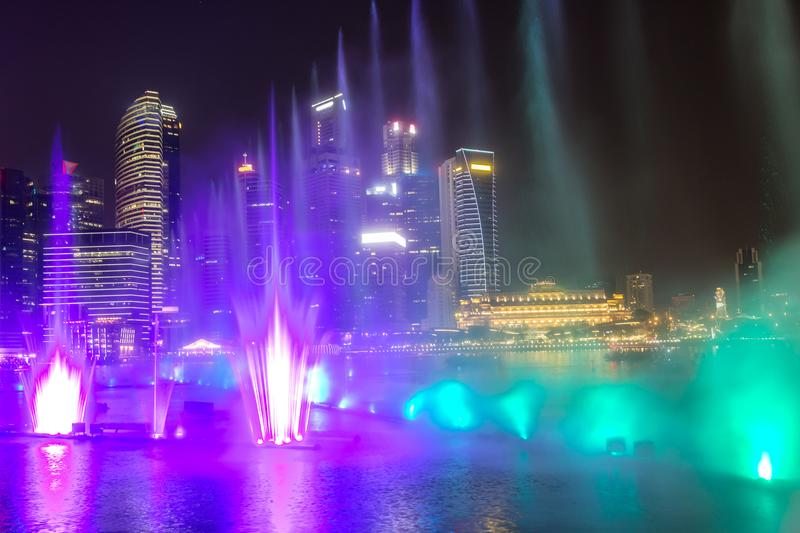 Laser show in Singapore stock images