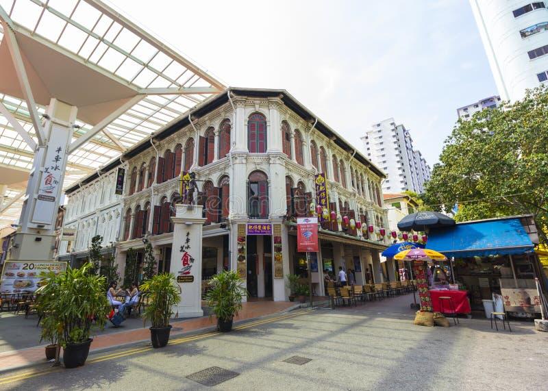 Singapore kineskvarter och matgata fotografering för bildbyråer