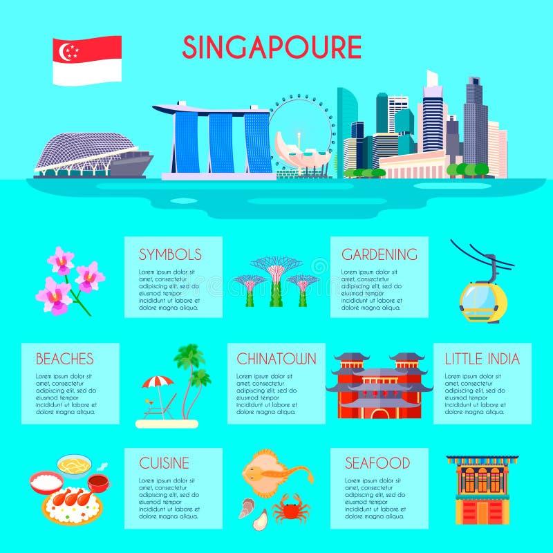 Singapore kultur Infographic royaltyfri illustrationer