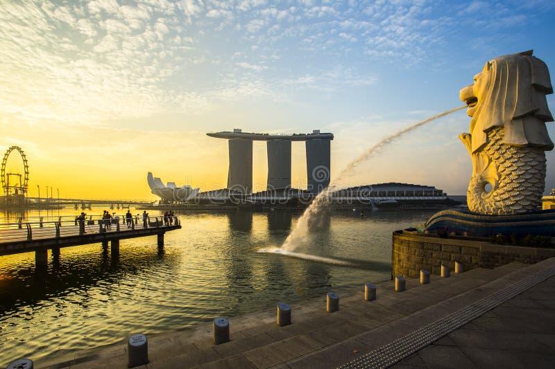 Singapore landmark Merlion with sunrise royalty free stock photography