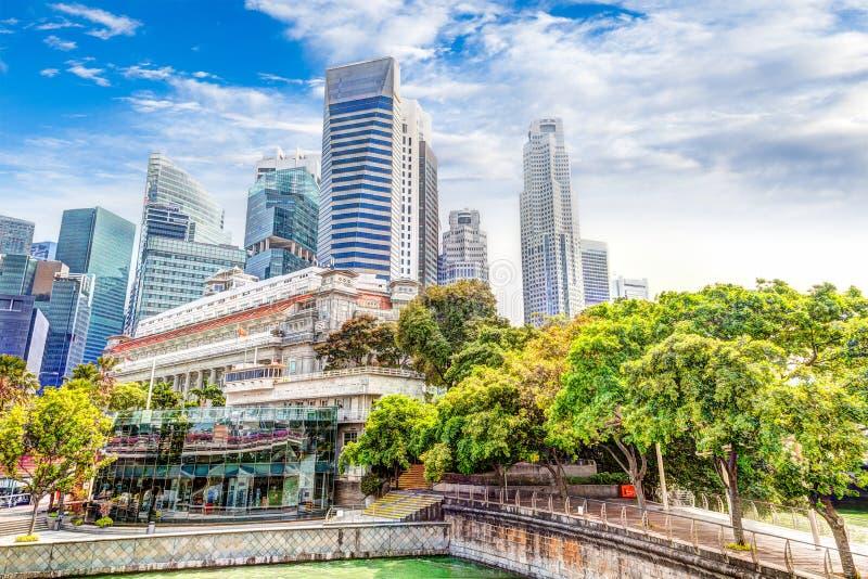 Singapore Landmark Skyline at Fullerton on Esplanade Bridge stock photography