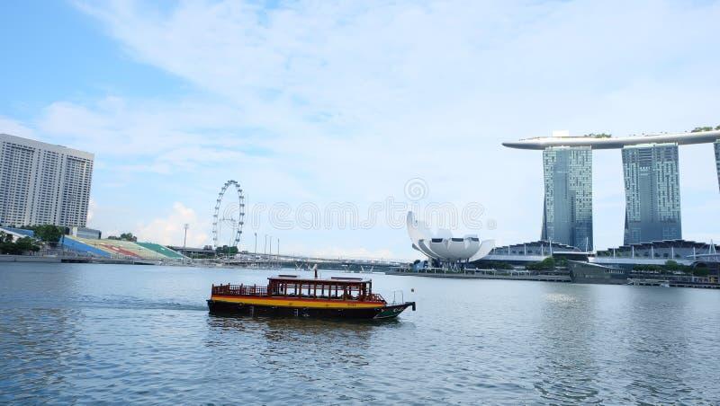Singapore landmarks, Singapore flyer, Marina Bay Sand. Blue sky stock images