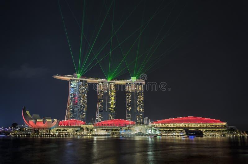 Singapore Laser show stock photography