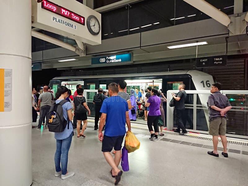 Singapore: Lichte Spoorwegdoorgang LRT royalty-vrije stock afbeeldingen