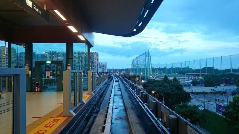Singapore: Lichte Spoorwegdoorgang LRT stock afbeeldingen