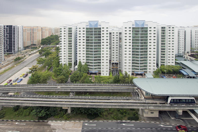 Singapore Light Rail Train Station. In Punggol Housing District royalty free stock image