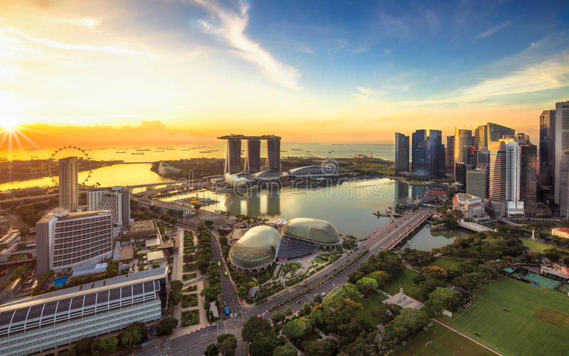 singapore linia horyzontu Singapur ` s biznes zdjęcia royalty free